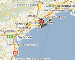carte littoral Le Cap d'Agde