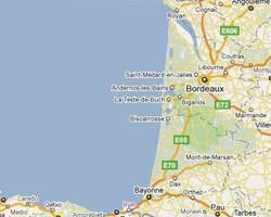 Karte am Meer Aquitaine