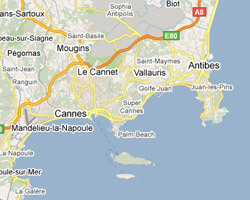 seaside map Bay of Cannes-Antibes
