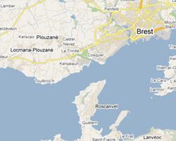 carte littoral rade de Brest