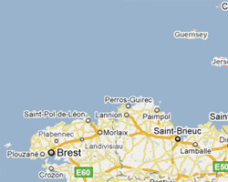 seaside map North and West Brittany