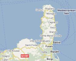 carte littoral Cap Corse
