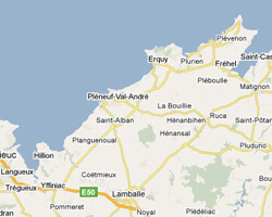 carte littoral Côte de Penthièvre