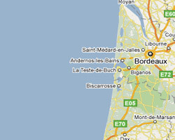 seaside map Landes coast