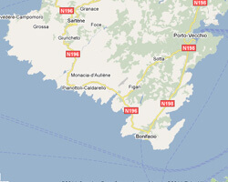 seaside map Corsica South coast