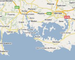 seaside map Gulf of Morbihan-Rhuys peninsula