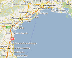 seaside map Languedoc-Roussillon