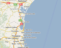 seaside map Aude-Roussillon coast