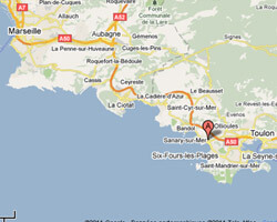 seaside map Sanary-sur-Mer